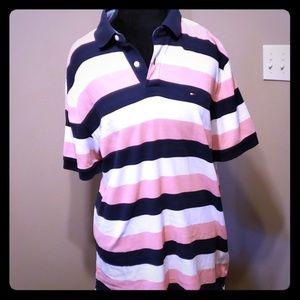 Tommy hilfiger pink navy white stripe polo xl